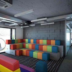 Wizualizacja. Pokój wypoczynkowy w biurze. Panele Pixel. Projekt ARC Artur Arciszewski