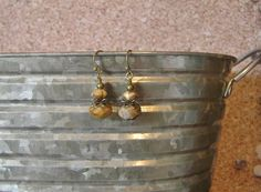 Honey and Cream Faceted Dangle Earrings with by SmockandStone, $10.00