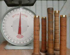 Primitive Bobbin Spools | Rustic Small Vintage Wooden Texti Le Mill Spool    Set Of Five