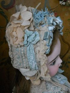 ~~~ Childlike French Larger BeBe Lace Costume with Bonnet ~~~