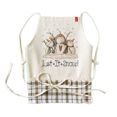 #Christmas Snowman Rustic Country Primitive Winter Zazzle HEART Apron - #country gifts style diy gift ideas