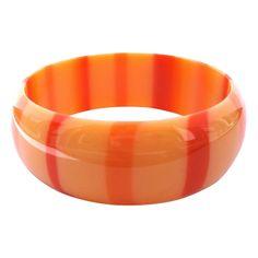 Vintage 1960s Apricot Orange Lucite Bracelet w/ Stripes