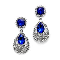 Dazzling Royal Blue Crystal Earrings for bridesmaids- Affordable Elegance Bridal -