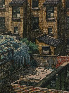CHARLES GINNER, A.R.A. (1878-1952) DESERTED HOUSES, PIMLICO. I love the detail in this, it looks as though he has painted each individual brick. Camden Town, Camden Group, Impressionist Artists, Building Art, Landscape Paintings, Landscapes, Graphic Illustration, Illustrations, Art For Art Sake