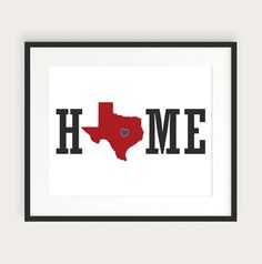 Custom Home Print With Your State, Personalized Home Decor Wall Art Print, Illinois, Texas, Any State or Colors, 8x10.