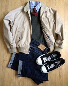 Jacket: Nordstrom Harrington Jacket Shirt: Polo Ralph Lauren Sweater: Banana Republic merino v-neck Jeans: Pure Blue Japan XX-005 tapered Shoes: Converse Jack Purcell