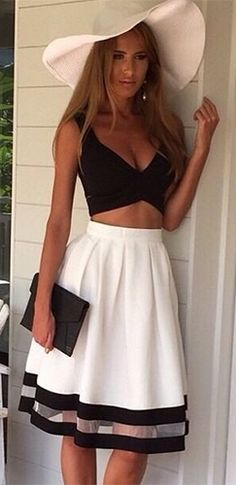Country Club White Black Sleeveless V Neck Cut Out Crop Top Sheer Mesh Stripe A Line Flare Midi Skirt Two Piece Dress