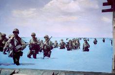 World War II, Marines landing on Tarawa, 1943.