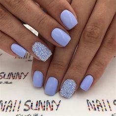 Cute light blue acrylic nails short with an accent glitter nailYou can find Nails acrylic short and more on our website.Cute light blue acrylic nails short with. Violet Nails, Purple Acrylic Nails, Summer Acrylic Nails, Blue Gel Nails, Spring Nails, Periwinkle Nails, Dark Nails, Blue Nails With Glitter, Summer Shellac Nails