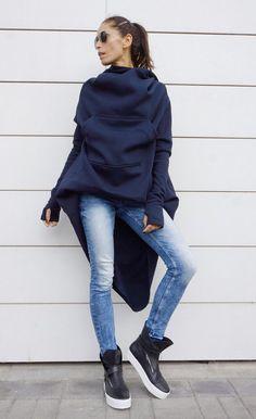 Navy Extravarant Maxi Asymmetric Hoodie / Fleece Cotton от Aakasha