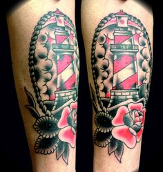 tattoo old school / traditional nautic ink - lighthouse with rose @ arm
