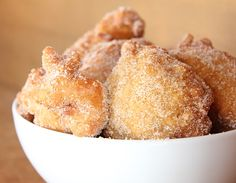 Chuckwagon Apple Fritters- instead of self rising flour you can substitute 2 c. flour, 1 tablespoon baking powder and 1 tsp salt. Just Desserts, Delicious Desserts, Dessert Recipes, Yummy Food, Breakfast Recipes, Pumpkin Fritters, Apple Fritters, Bajan Recipe, Yummy Treats