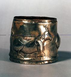 Bactrian Silver Cylindrical Cup with Animals | Flickr: In 3rd-2nd millennium BCE