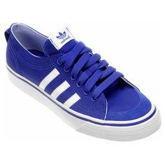 6d20e2645a34bb Tênis Adidas Nizza Low - Branco e Azul Claro
