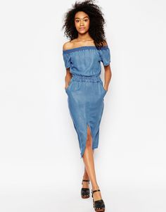 Image 4 ofASOS Denim Off Shoulder Waisted Midi Dress