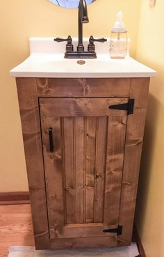 Bathroom Vanity – Rustic Small Wood Cabinet With New England Style Beadboard and Exposed Hinges, No Top, Completely Customizable – Bathroom Inspiration Country Bathroom Vanities, Boho Bathroom, Bathroom Faucets, Bathroom Storage, Modern Bathroom, Bathroom Beadboard, Farmhouse Bathrooms, Modern Farmhouse, Master Bathrooms