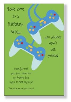 Play Station Party Birthday Invite