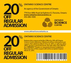 ATTRACTIONS ONTARIO - 20% Off Ontario Science Centre. Steve Pacheco Real Estate. More coupons: bit.ly/1hupagH Ontario Attractions, Printable Coupons, Toronto, Centre, Things To Do, Real Estate, Science, Summer, Real Estates