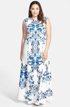 Placed Print Crêpe de Chine Maxi Dress (Plus Size)