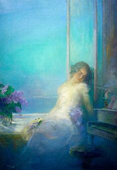 Pavel Shmarov - Sleeping woman on blue background