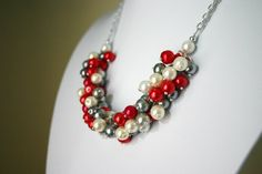 Red Gray and White Pearl Cluster Fan Necklace  by PolkaDotDrawer