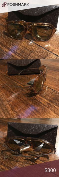 Authentic Gucci sunglasses Killer aviator frames, light brown/tan frames paired with silver legs - look at the detail, its spectacular. Bought at Saks, NWOT.  💯 authentic. Gucci Accessories Sunglasses