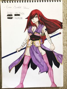 Well I decided to post something… I recently drew Erza because I was bored^_^;  #erzascarlet #fairytail #fanart