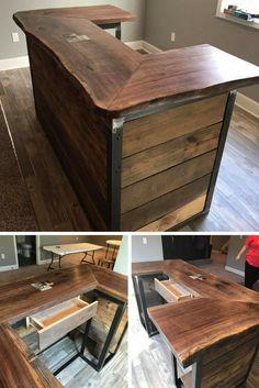 Combo of barn wood, live edge walnut & metal for this small reception desk. It has a rustic feel & on trend for an office front desk, salon, spa, etc.