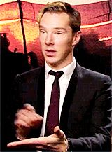 Benedict Cumberbatch, I just... is there anything more freakin' charming? It's from a War Horse interview, and he's imitating Steven Spielberg playing a fart game on his iPad.