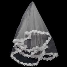 $3.40 New Vintage Three Layers Flower Wedding Bridal Veil Bridal Beads 2 Colors