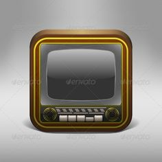 Retro TV App Icon  #GraphicRiver         Retro TV App Icon. Editable EPS 10, layered PSD, Ai-format and JPG-file. Contains gradient meshes and tranparent objects. All transparencies are flattened. Color mode RGB.     Created: 6July13 GraphicsFilesIncluded: PhotoshopPSD #JPGImage #VectorEPS #AIIllustrator Layered: Yes MinimumAdobeCSVersion: CS Tags: app #bandwidth #broadcasting #button #channels #compact #dial #element #golden #icon #ios #knob #media #monitor #movie #old #old-fashioned #radio…