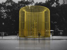 """Ai Weiwei's Latest Artwork: Building Fences Throughout New York City -  A rendering of one piece in Ai Weiwei's multipart Public Art Fund project """"Good Fences Make Good Neighbors."""" Credit Ai Weiwei Studio"""
