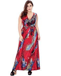 YiJee Femmes Ethnique Imprimé Robe Tunique Grande Taille Robes Sans Manches  Vêtements de Plage Rouge 6XL 3456ba23436e