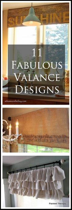 11 Fabulous Valance Designs @Margo Hesketh - a few of these were so cute! I thought of you after we chatted about my kitchen idea yesterday.