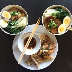 Homemade ramen and pork gyoza