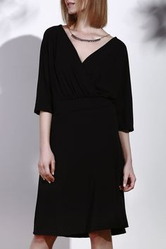 $11.91 Black Plus Size Elegant Plunging Neck 3/4 Sleeve Dress For Women