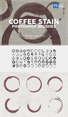 Pack contains 60 high quality coffee stain photoshop brushes, pixels size, 300 dpi. Pixel Size, Coffee Staining, Photoshop Brushes, Templates, Words, Box, Design, Stencils, Snare Drum