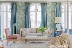 Master bedroom sitting area. Blue floral wallpaper, blue curtains and pink accents balance masculine and feminine touches. Gracie Wallpaper, Wallpaper Wall, Neutral Wallpaper, Classic Wallpaper, White Wallpaper, Trendy Wallpaper, Trendy Home Decor, Home Decor Trends, Alice Lane Home