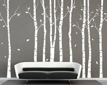 Tree Wall Decal 9 Birch Trees Decals Forest Wall Decals Winter Tree Wall  Decal Nature Wall