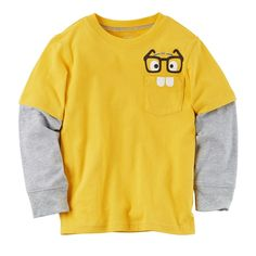 Toddler Boy Carter's Mock-Layer Pocket Graphic Tee, Size: 4T, Yellow