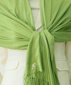 Apple green pashmina scarf, Bridesmaid Shawl, Bridesmaid Gift, bridal accessories, wedding gift. $20.00, via Etsy.