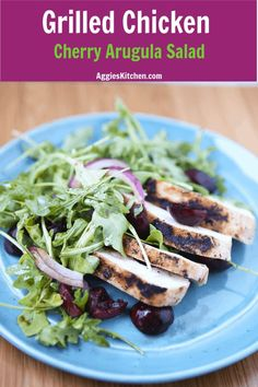 Grilled Chicken With Cherry Arugula Salad - A Perfect Summer Meal. Light, Low Carb And Filled With Fresh Flavor. Add This To Your Meal Plan This Week Via Aggieskitchen Healthy Low Carb Recipes, Healthy Dinner Recipes, Real Food Recipes, Summer Salad Recipes, Summer Salads, Healthy Summer, Chicken Skillet Recipes, Turkey Recipes, Healthy Chicken Dinner