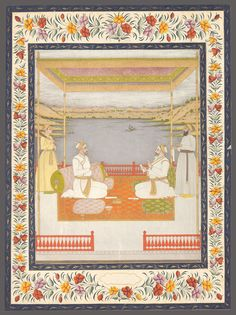 Burhan-ul-Mulk Sa'adat Khan I (R) and Khwaja Asim Khan Dauran VII (L) in 1739 seated on a terrace. Mughal Paintings, Mughal Empire, Persian, Vintage World Maps, Royalty, Textiles, Indian, History, Terrace