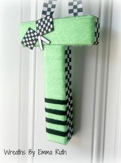 Racecar theme yarn letter Yarn Letters, Yarn Projects, Baby Boy Shower, Lana, Kids Room, Room Ideas, Wreaths, Etsy Shop, Lettering