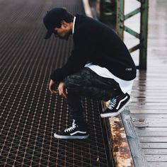 ** Streetwear daily - - - Click this picture to check out our clothing label ** Vans Sk8 Hi Outfit, Black Vans Outfit, All Black Sneakers, Vans Sk8 Hi Slim, Sk8 Hi Vans, Hype Clothing, Clothing Labels, Vans Black Old Skool, Fashion Brand