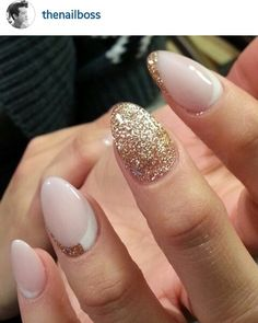 Pink gold sparkle nails oval