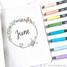 We are halfway through the year, and it's time to show off June bujo layouts. Let's check out these gorgeous hello June bullet journal layout ideas. Doodle Bullet Journal, Bullet Journal Cover Page, Bullet Journal 2019, Bullet Journal Notebook, Bullet Journal Spread, Bullet Journal Ideas Pages, Journal Covers, Bullet Journal Inspiration, Junk Journal
