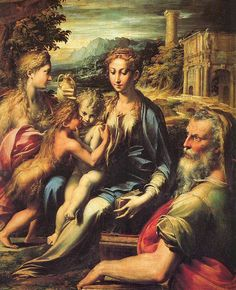 Parmigianino | La Madonna di San Zaccaria/Madonna with Saint Zachariah è un dipinto a olio su tavola, 75,5×60cm, databile al 1530-1533 circa e conservato nella Galleria degli Uffizi di Firenze.