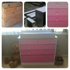 Chest of drawers make over, pink ombre with crystal handles