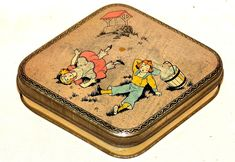 Jack and Jill Nursery Rhyme Toffee Candy Tin 1930s